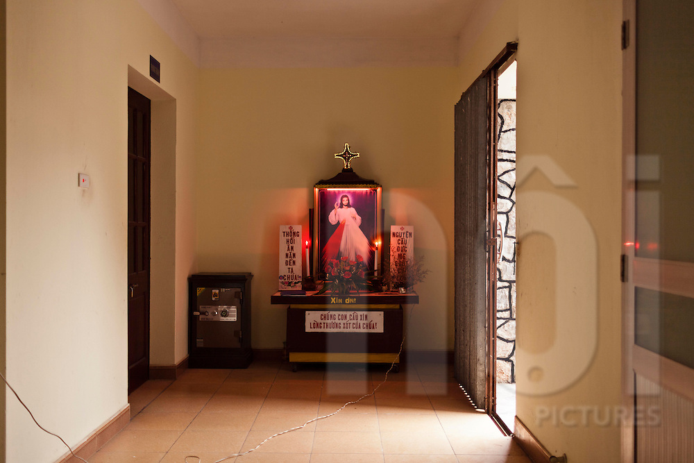Catholic altar in a building of Nam Dinh Province, Vietnam, Southeast Asia.