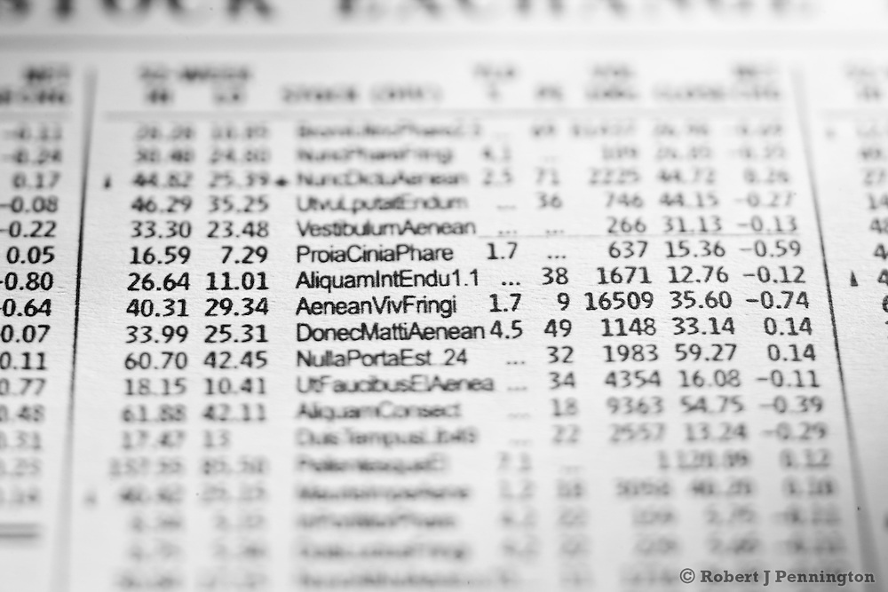 Abstract stock exchange newspaper listing