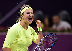 Victoria Azarenka of Belarus celebrates after the first round match against Angelique Kerber of Germany in the WTA Qatar Open tennis tournament in Doha, Qatar, Feb. 23, 2015. Victoria Azarenka won 2-0. EXPA Pictures © 2015, PhotoCredit: EXPA/ Photoshot/ Chen Shaojin<br /> <br /> *****ATTENTION - for AUT, SLO, CRO, SRB, BIH, MAZ only*****