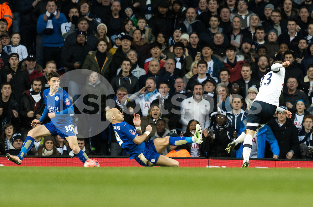 Christian Eriksen of Tottenham Hotspur scores the opening goal during the The FA Cup Third Round match between Tottenham Hotspur and Leicester City at White Hart Lane, London, England on 10 January 2016. Photo by Vince  Mignott.