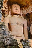 Inde, état du Madhya Pradesh, Gwalior, fort de Gwalior, Tirthankars, sculptures Jain // India, Madhya Pradesh state, Gwalior, fort de Gwalior, Tirthankars, Jain sculptures