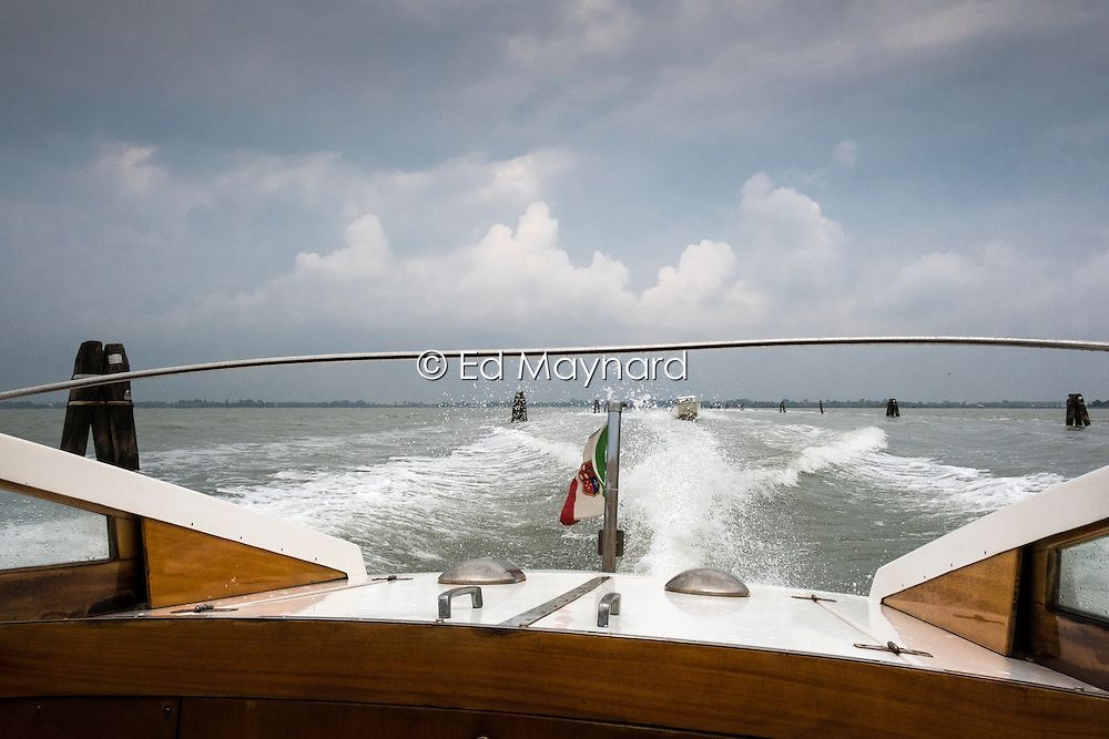 Taking a water taxi from Marco Polo Airport to Venice, Italy.<br />