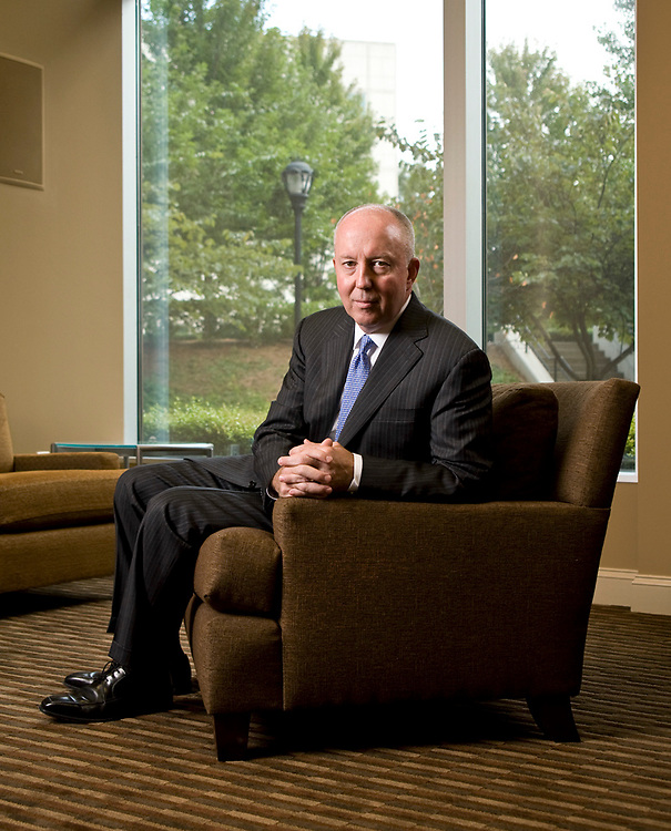 Corporate portrait of banker Christopher Marshall taken in his office in Charlotte, North Carolina