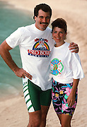 AFC New York Jets tight end Mickey Shuler  smiles as he poses for a photograph wearing NFL beach apparel in front of the Hilton Hawaiian Village Hotel Resort in Waikiki Beach during the week of the 1989 NFL Pro Bowl football game against the NFC on Jan. 26, 1989 in Honolulu. The NFC won the game 34-3. (©Paul Anthony Spinelli)