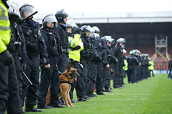 WREXHAM, WALES - Monday, May 7, 2012: A line of riot police including an attack dog on the pitch after the Football Conference Premier Division Promotion Play-Off 2nd Leg between Wrexham and Luton Town at the Racecourse Ground. (Pic by David Rawcliffe/Propaganda)
