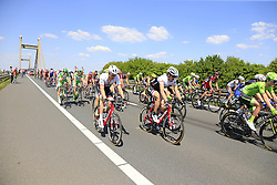 The peloton, including Fabian Cancellara (SUI) Trek-Segafredo, cross Prince Willem Alexander Bridge over the River Waal during Stage 2 of the 2016 Giro d'Italia running 190km from Arnhem to Nijmegen, The Nethrerlands. 7th May 2016.<br /> Picture: Eoin Clarke | Newsfile<br /> <br /> <br /> All photos usage must carry mandatory copyright credit (© Newsfile | Eoin Clarke)