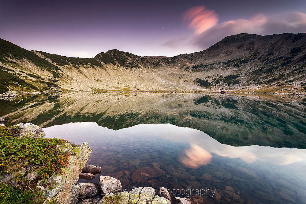Clear moutain lake at twilight