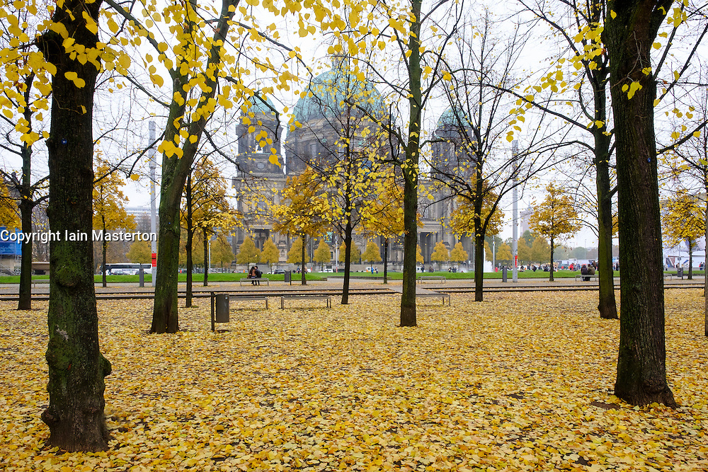 Lustgarten and Berliner Dom (Berlin Cathedral) with autumn leaves in Mitte Berlin Germany