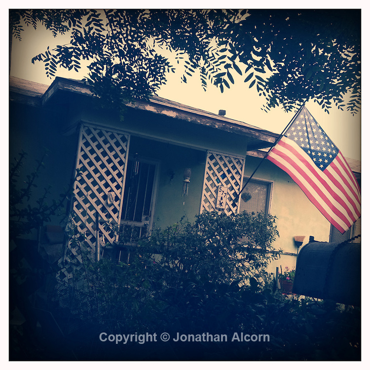 U.S. flag in front of home in Venice Beach