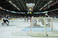 KELOWNA, CANADA - OCTOBER 23:  The Prince George Cougars score a goal against the Kelowna Rockets on October 23, 2015 at Prospera Place in Kelowna, British Columbia, Canada.  (Photo by Marissa Baecker/Shoot the Breeze)  *** Local Caption ***