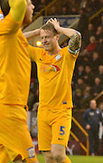 Preston North End Defender, Tom Clarke cant believe his shot has missed and makes his feelings clear during the Sky Bet Championship match between Burnley and Preston North End at Turf Moor, Burnley, England on 5 December 2015. Photo by Mark Pollitt.
