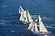 France Saint - Tropez October 2013, Classic yachts racing at the Voiles de Saint - Tropez<br /> <br /> C,88,MOONBEAM III,30,COTRE AURIQUE/1903,WILLIAM FIFE<br /> <br /> C,/241,ASCHANTI ,35,GOELETTE MARCONI/1954,HENRI GRUBER