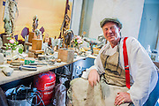 In his workshop - Nic Fiddian-Green (pictured in white shirt - sculptor of monumental neo-classical horses heads) sets up his iron foundry in Bruton Place, Mayfair to demonstrate the ancient art of 'lost wax' casting and also hand patinating.  He also has a new solo show at Sladmore Contemporary from 10th June until 31st July 2015. The exhibition will include a recreation of the artist's hilltop surrey studio and workshop,  with new work in  progress.
