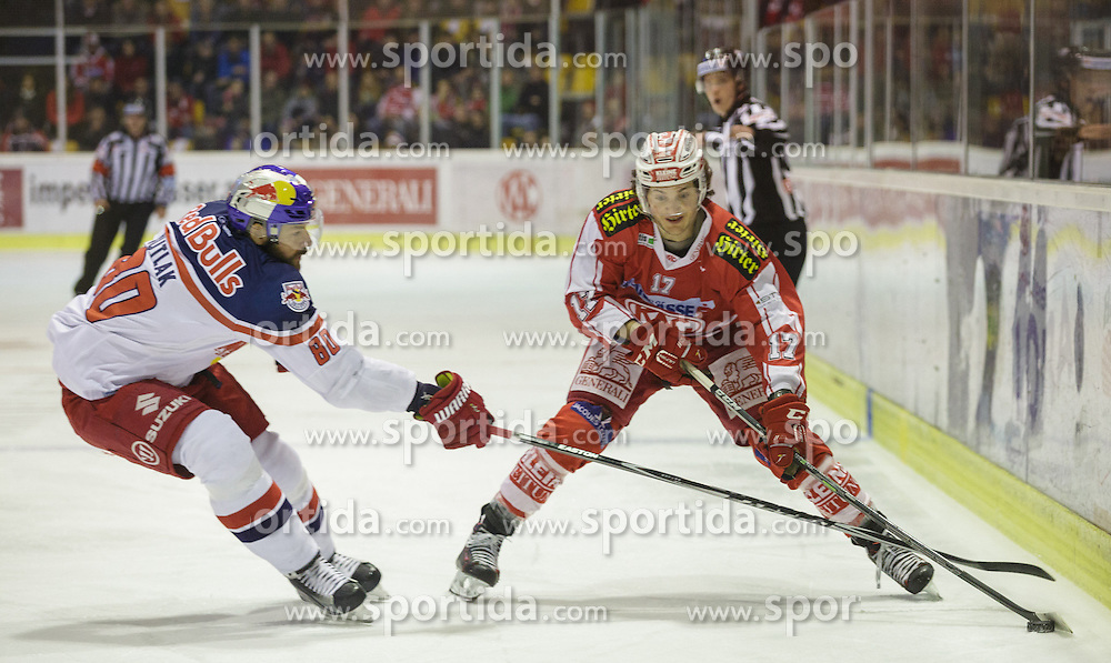 28.02.2016, Stadthalle, Klagenfurt, AUT, EBEL, EC KAC vs EC Red Bull Salzburg, Viertelfinale, 2. Spiel, im Bild Zdenek Kutlak (Red Bull Salzburg #80), Manuel Ganahl (EC KAC, #17) // during the Erste Bank Icehockey League 2nd quarterfinal match between EC KAC and EC Red Bull Salzburg at the City Hall in Klagenfurt, Austria on 2016/02/28. EXPA Pictures © 2016, PhotoCredit: EXPA/ Gert Steinthaler
