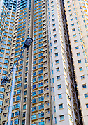 Apartment buildings at Wong Tai Sin district (Fung Tak Road), Kowloon, Hong Kong, China.