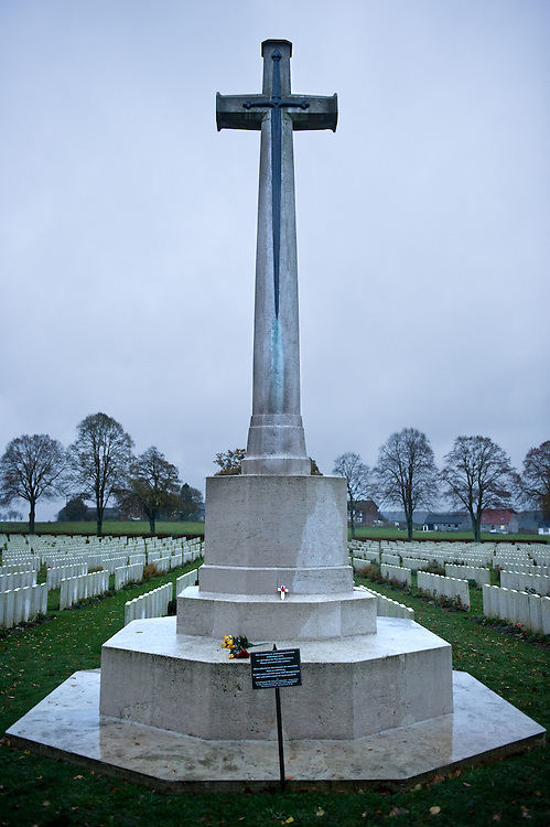 A cross at the Delville Wood Cemetery is the third largest cemetery in in the Somme battlefield area and contains 5,523 burials of which two-thirds are unknown.There are 5,242 UK burials, 152 from South Africa, 81 from Australia, 29 from Canada and 19 from New Zealand. Almost all of the casualties date from July to September 1916 and are from the battle of Delville Wood.