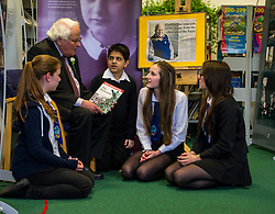 Edinburgh's Bailie Elaine Aitken opened FirrhillHigh School's 'The Anne Frank: A History For Today' exhibition  today. Baillie Aitken was joined by Heather Boyce from the Anne Frank Trust and second generation Holocaust survivors who spoke of their family members' memories of the war. The ceremony was attended by pupils from Firrhill High, local primary schools and retirement home residents from Old Farm Court and Caiystane Court. Stephan Brent, who was one of the 10,000 children sent to the UK as part of the Kindertransport, spoke movingly of his experience of arriving in Scotland to old and u=young alike. 29 April 2014 (c) GER HARLEY   StockPix.eu