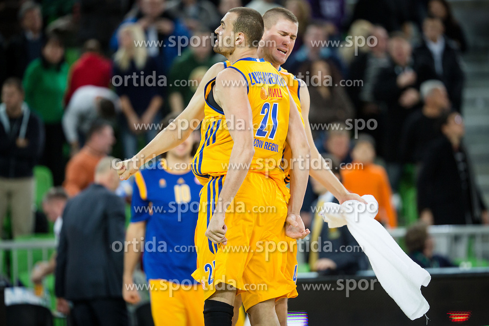 Paul Davis of Khimki and Alexey Zhukanenko of Khimki during basketball match between KK Union Olimpija and Khimki Moscow Region (RUS) in 9th Round of Regular season of Euroleague 2012/13 on December 7, 2012 in Arena Stozice, Ljubljana, Slovenia. Union Olimpija defeated Khimki Moscow Region 74:72. (Photo By Matic Klansek Velej / Sportida)