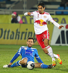 04.12.2011, Stadion, Wiener Neustadt, AUT, 1. FBL, SC Wiener Neustadt vs RB Salzburg, im Bild Gonzalo Zarate, (Red Bull Salzburg, #11) Michael Madl, (SC Magna Wiener Neustadt, #15)  during the Austrian Bundesliga Match, SC Wiener Neustadt against RB Salzburg, Stadium, Wiener Neustadt near Vienna, Austria on 2011-12-04, EXPA Pictures © 2011, PhotoCredit: EXPA/ S. Woldron