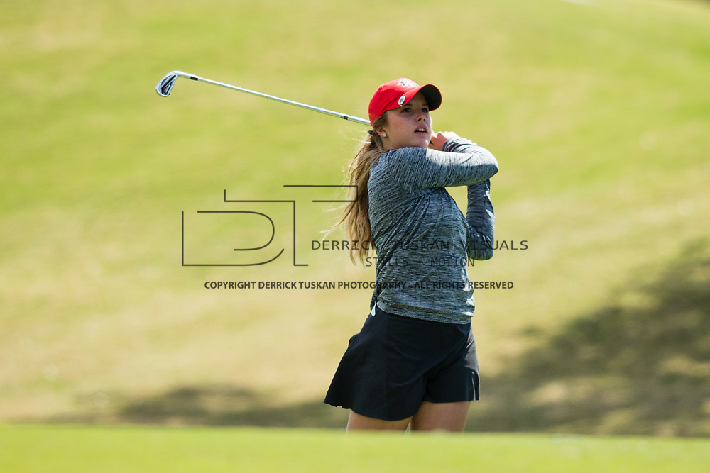 26 March 2018: Sarah Kjellker hits an approach shot from the fairway of the seventeenth hole during the opening round of the March Mayhem Tournament hosted by SDSU at the Farms Golf Club in Rancho Santa Fe, California. <br /> More game action at sdsuaztecphotos.com