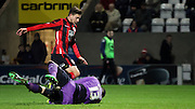 Shaun Miller attacks the ball during the Sky Bet League 2 match between Morecambe and Cambridge United at the Globe Arena, Morecambe, England on 24 November 2015. Photo by Pete Burns.