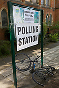 On the morning of the European Elections in the UK, an exterior of the Polling Station and a toppled bike at the Baptist Church in East Dulwich, on 23rd May 2019, in south London, England UK.