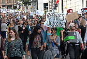 'Refugees Welcome Here' <br /> National demonstration called in solidarity with refugees fleeing the crises in Syria and North Africa.<br /> March from Marble Arch to Downing Street London.