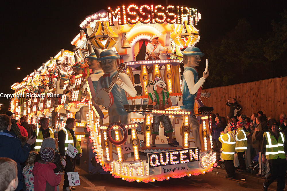 The Mississippi Queen: Destination Mardi Gras by the Ramblers Carnival Club at the 2011 carnival. Bridgwater Carnival is an annual event to raise money for local charities. It is widely reputed to be the largest illuminated carnival in the world.