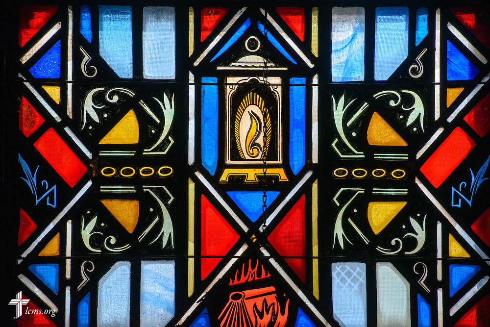 Stained glass at Luther Memorial Chapel depicts a lamp on Friday, Jan. 29, 2016, in Shorewood, Wis. LCMS Communications/Erik M. Lunsford