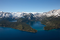 """""""Emerald Bay, Lake Tahoe Aerial 5"""" - Photograph of Emerald Bay in Lake Tahoe, shot from an amphibious seaplane with the door removed. Cascade Lake can be seen on the left."""