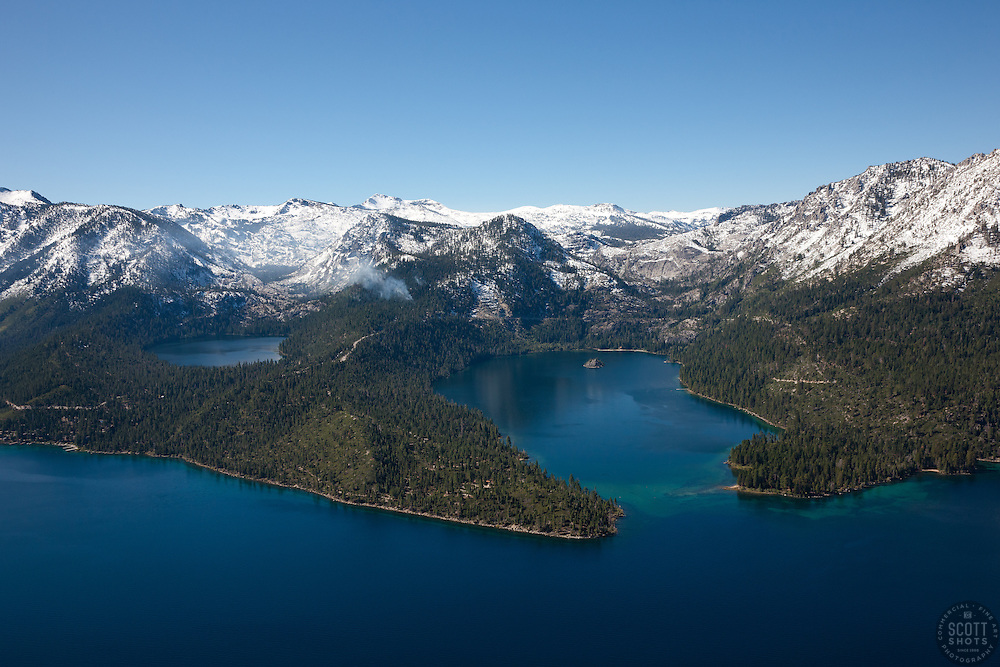 """Emerald Bay, Lake Tahoe Aerial 5"" - Photograph of Emerald Bay in Lake Tahoe, shot from an amphibious seaplane with the door removed. Cascade Lake can be seen on the left."