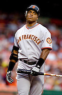 San Francisco Giants slugger Barry Bonds reacts to a strike call against the Washington Nationals in the first inning of their National League Baseball game in Washington, July 25, 2006.