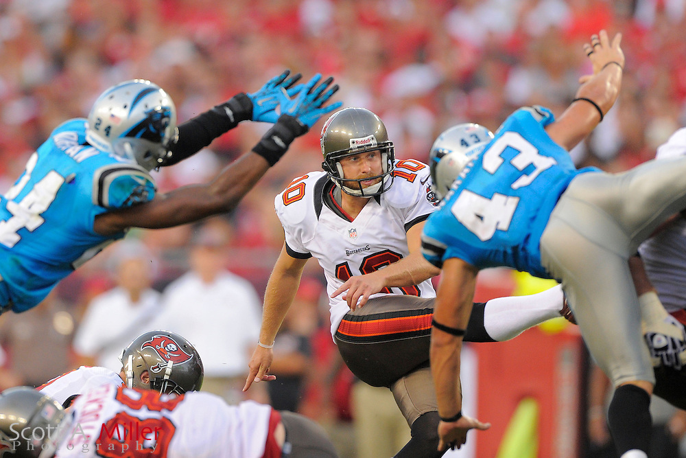Tampa Bay Buccaneers kicker Connor Barth (10) kicks his second field during the Bucs 16-10 win over the Carolina Panthers at Raymond James Stadium  on September 9, 2012 in Tampa, Florida. ..©2012 Scott A. Miller...