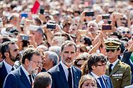 BARCELONA - De Spaanse koning Felipe tijdens de herdenking van de aanslag in Barcelona. Een bestelbus reed in op voetgangers op Ramblas, een drukke promenade die populair is onder toeristen. ANP ROYAL IMAGES  ROBIN UTRECHT