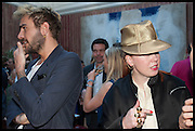OSCAR HUMPHRIES; JULIA MUGGENBURG, Drinks party to launch this year's Frieze Masters.Hosted by Charles Saumarez Smith and Victoria Siddall<br />  Academicians' room - The Keepers House. Royal Academy. Piccadilly. London. 3 July 2014