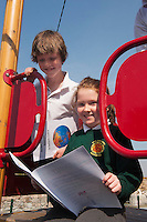 Iarflaith Canny and Doireann Ní Fhoighil  4th class pupils from Scoil Sailearna, Inverin, Co. Galway who will be presented with medals for their prize-winning original stories at this year's Write a Book / Scríobh Leabhair competition, run by Galway Education Centre, in the Radisson blu Hotel on Thursday 30th April.  Photo:Andrew Downes