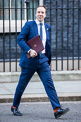 © Licensed to London News Pictures. 14/01/2019. London UK. Secretary of State for Health & Social care Matt Hancock leaving Downing Street this morning. Photo credit: Andrew McCaren/LNP