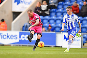 Hartlepool player Lewis Alessandra shoots on goal in the first half during the EFL Sky Bet League 2 match between Colchester United and Hartlepool United at the Weston Homes Community Stadium, Colchester, England on 25 February 2017. Photo by Ian  Muir.