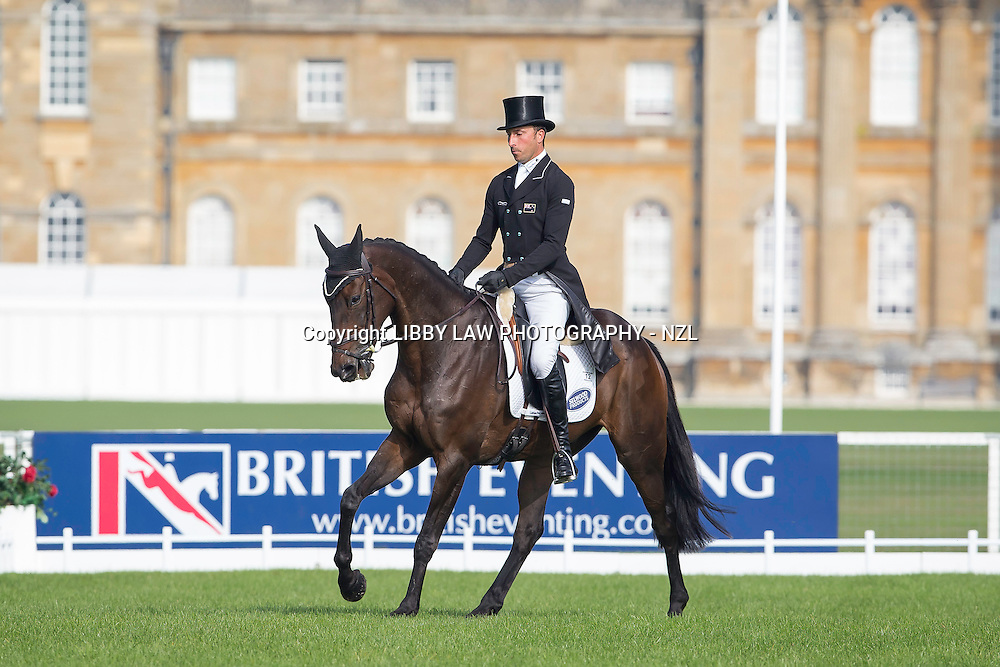 NZL-Tim Price (HADDON TRUMP CARD) INTERIM-26TH: CCI3* FIRST DAY OF DRESSAGE: 2014 GBR-Blenheim Palace International Horse Trial (Thursday 11 September) CREDIT: Libby Law COPYRIGHT: LIBBY LAW PHOTOGRAPHY - NZL