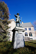 A statue of explorer Louis Joliet stands outside of the Joliet, IL Public Library. The town was named in his honor.
