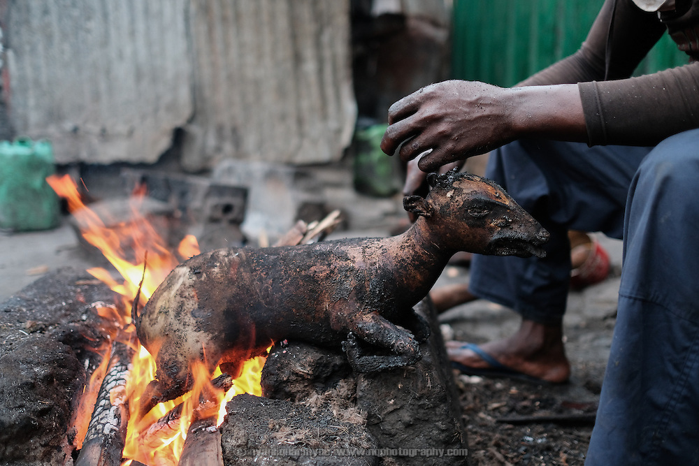 A butcher singeing the hair off a duiker carcass before it is butchered and sold in Atwemonom, the main bushmeat market, in Kumasi, Ghana on 7 September 2016. It is hot and dirty work, and leaves an acrid odour and a layer of greasy soot on everyone and everything. He is paid by the carcass.<br /> <br /> Though a hunting ban was in force from 1 August to 1 December 2016, duikers, as well as bushbucks, civet cats, wild pigs, mongooses, porcupines, francolins and pangolins flowed through the market.