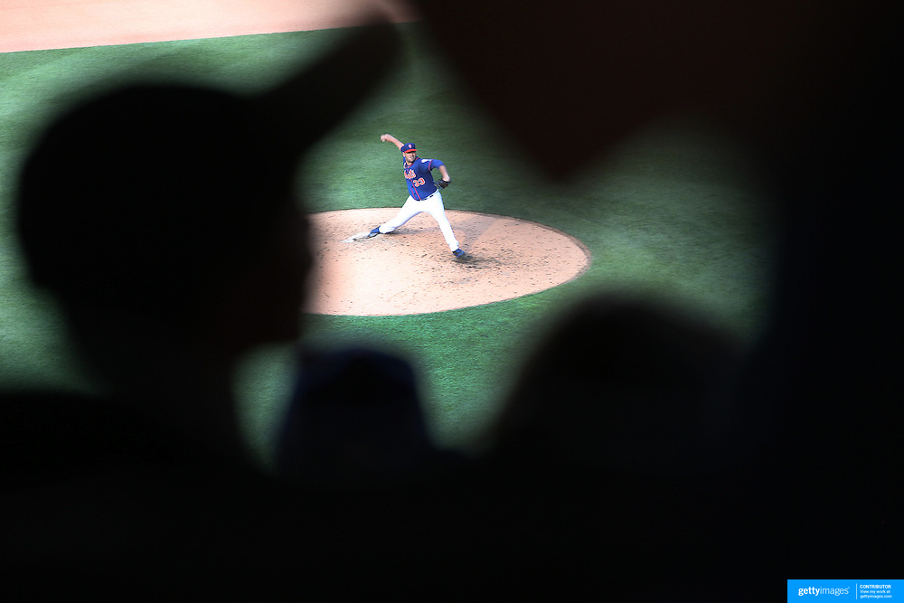 Pitcher Matt Harvey, New York Mets, pitching watched by young fans in the stands during the New York Mets Vs Arizona Diamondbacks MLB regular season baseball game at Citi Field, Queens, New York. USA. 11th July 2015. Photo Tim Clayton