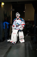 KELOWNA, CANADA - APRIL 3: Jordon Cooke #30 of the Kelowna Rockets walks to the ice at the start of third period against the Seattle Thunderbirds on April 3, 2014 during Game 1 of the second round of WHL Playoffs at Prospera Place in Kelowna, British Columbia, Canada.   (Photo by Marissa Baecker/Getty Images)  *** Local Caption *** Jordon Cooke;