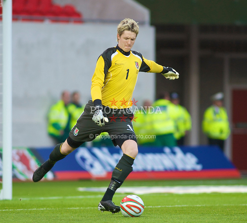 LLANELLI, WALES - Friday, May 29, 2009: Wales' Wayne Hennessey in action against Estonia during the International friendly match at Parc y Scarlets. (Pic by Gareth Davies/Propaganda)