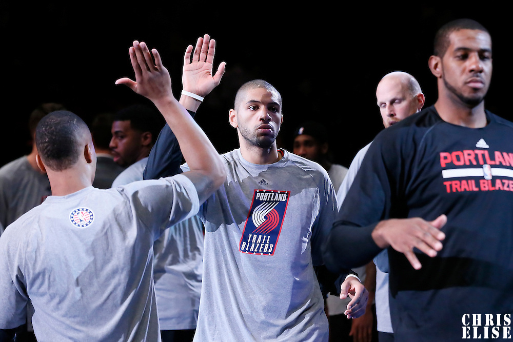 08 November 2014: Portland Trail Blazers forward Nicolas Batum (88) is seen during the players introduction prior to the Los Angeles Clippers 106-102 victory over the Portland Trail Blazers, at the Staples Center, Los Angeles, California, USA.