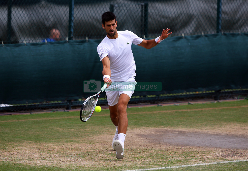 Novak Djokovic during a training session on day Nine of the Wimbledon Championships at The All England Lawn Tennis and Croquet Club, Wimbledon.