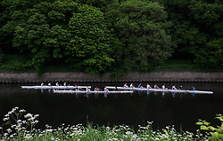 © Licensed to London News Pictures.13/06/15<br /> Durham, England<br /> <br /> Three rowing crews wait to start their heats during the 182nd Durham Regatta rowing event held on the River Wear. The origins of the regatta date back  to commemorations marking victory at the Battle of Waterloo in 1815. This is the second oldest event of this type in the country and attracts over 2000 competitors from across the country.<br /> <br /> Photo credit : Ian Forsyth/LNP