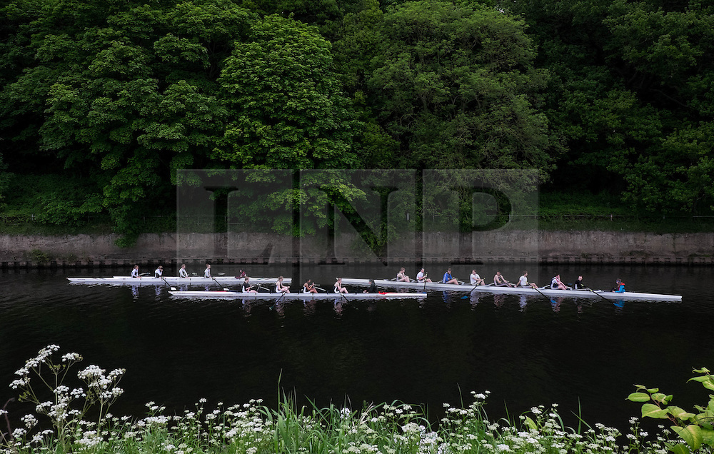 &copy; Licensed to London News Pictures.13/06/15<br /> Durham, England<br /> <br /> Three rowing crews wait to start their heats during the 182nd Durham Regatta rowing event held on the River Wear. The origins of the regatta date back  to commemorations marking victory at the Battle of Waterloo in 1815. This is the second oldest event of this type in the country and attracts over 2000 competitors from across the country.<br /> <br /> Photo credit : Ian Forsyth/LNP