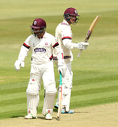 Somerset's Tom Abell raises his bat after getting to 50 - Photo mandatory by-line: Robbie Stephenson/JMP - Mobile: 07966 386802 - 21/06/2015 - SPORT - Cricket - Southampton - The Ageas Bowl - Hampshire v Somerset - County Championship Division One