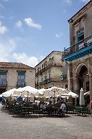 Cafe in the picturesque Cathedral Square, Old Havana, Cuba.